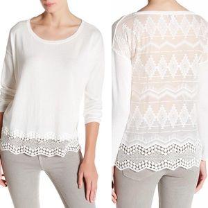 Joie Jenka White Silk Combo Lace Pullover Sweater